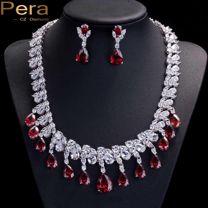 Pera Gorgeous Big Statement Dangle Teardrop Red Cubic Zirconia Earrings And Necklace Evening Party Jewelry Sets For Women J032 statement alloy crochet earrings and necklace