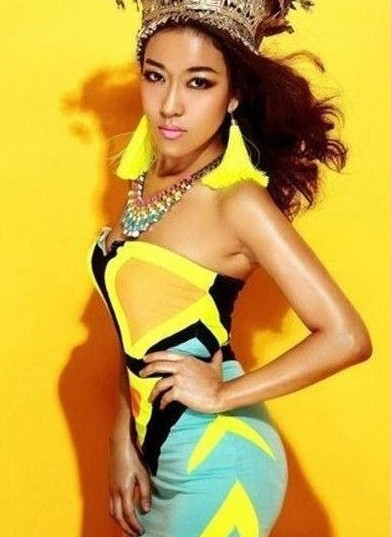 Neon yellow tube dress