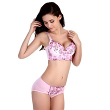 Womens Sexy Lingerie Underwire Bra&brief Sets 2017 New Elegant Embroidery Underwire 3/4 Cup Solid Push Up Underwear Set Hot Sale