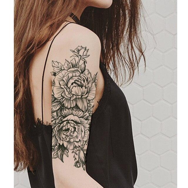 075 30 De Descuentonegro Flor Cuerpo Arte Impermeable Temporal Tatuo Sexy Muslo Brazo Tatuajes Rosa Para Mujer Flash Tatuaje Pegatinas En