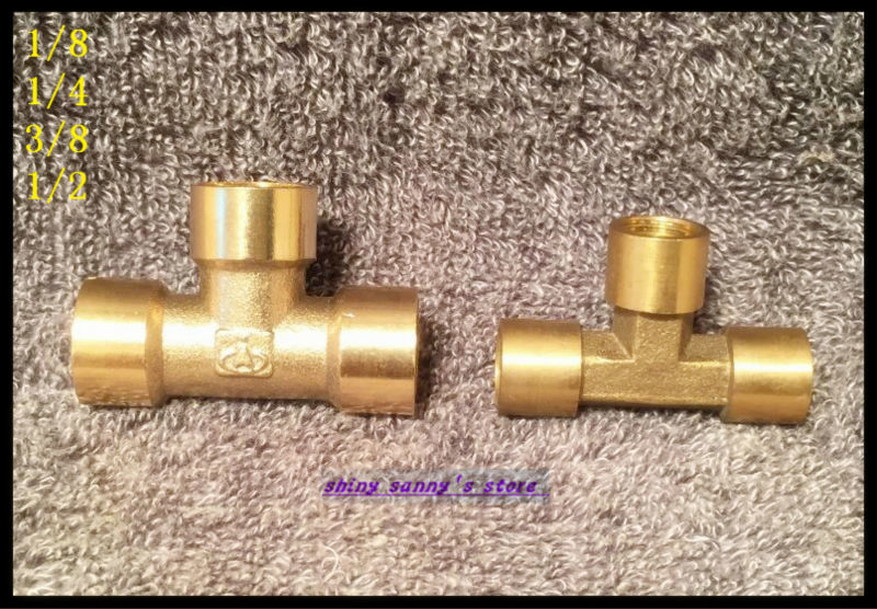 6Pcs/Lot  3 ways 1/2 BSP Tee Female Connection Pipe Brass Coupler Adapter 15pcs lot 8 03 8mm 3 8 bsp 2 ways male barbs elbow hose brass pipe adapter coupler