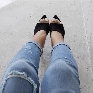 Image 5 - Zapatillas con tacón alto y Punta puntiaguda para mujer, Sandalias de mujer, color azul o naranja, negro y amarillo, novedad de verano 2019