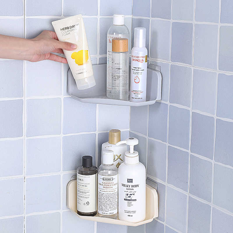 Shower Corner Caddy Self Adhesive with Glue or Wall Mount