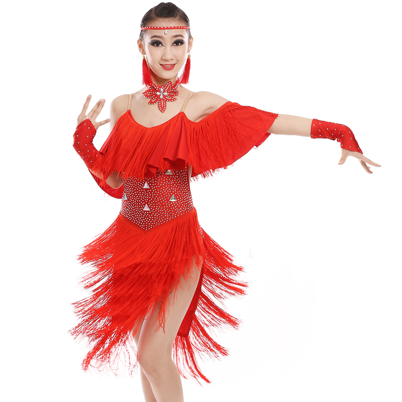 sequin fringe salsa tassel child kid children professional latin dance dress for girls ballroom dancing dresses for kids cha cha