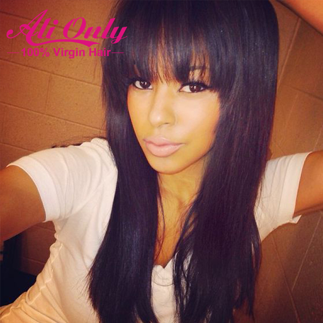 Alionly Straight Full Lace Wig With Bangs 7A Brazilian Virgin Hair Straight Lace Front Human Hair Wigs With Bangs Full Lace Wigs