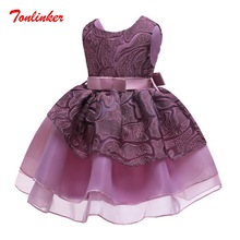 Summer Girls Embroidery Bow-Knot Princess Dress Children Tutu Wedding Dress Girl Deluxe Ball Gown Costumes