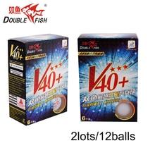 Original 12balls DOUBLE FISH Volant V40 + 3 Stjerner Bordtennisballer ABS Polymer Pingpong Ball Godkjenn av ITTF KONKURRANSE Ball