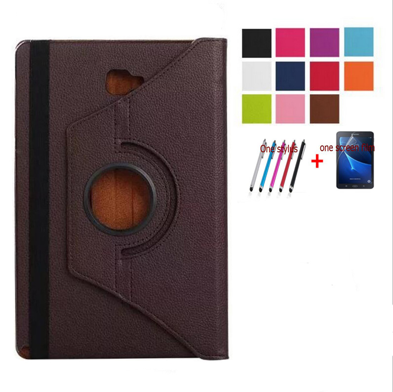 Fashion Case For Samsung Galaxy Tab A A6 10.1 P580 P585 Classic Lychee PU Leather Rotating Stand Flip Folio Cover+film+stylus