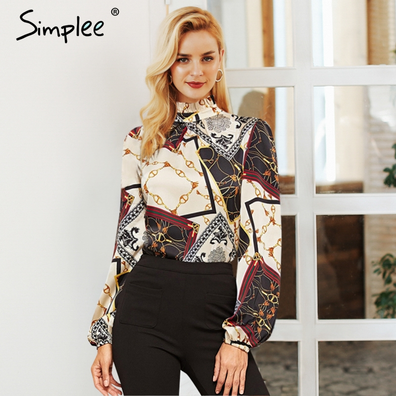 Simplee Fashion chain print women   blouse     shirt   Vintage stand neck female top   shirt   Long sleeve streetwear ladies   blouse     shirt