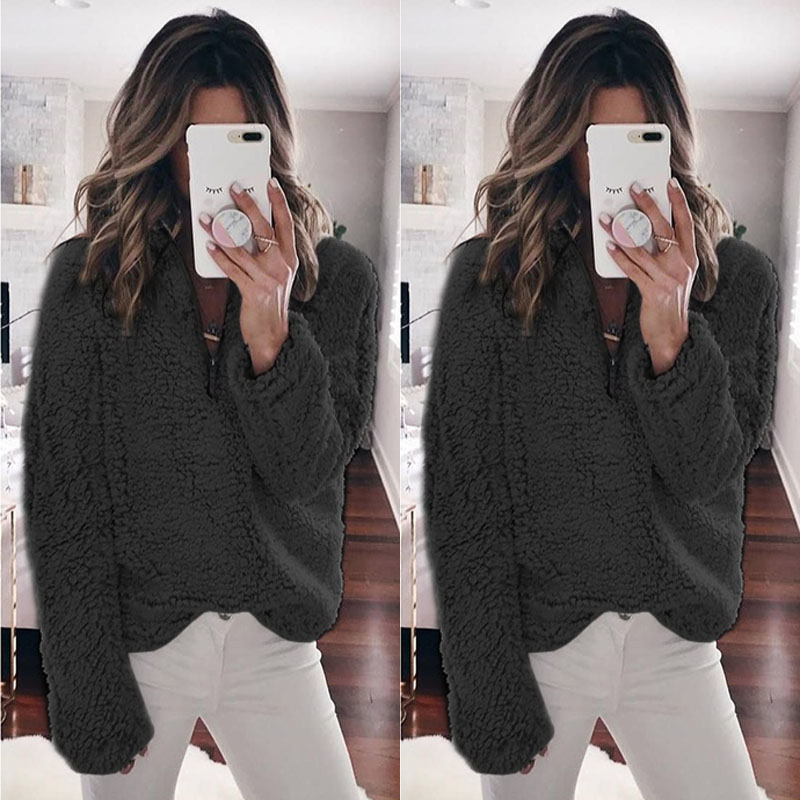 Women Wool Warm Clothes Blouse Pullover Tops Coat Zipper Neck Autumn Clothing Winter Women's Clothing Long Sleeve Top 1