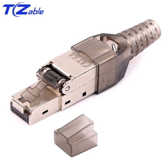 CAT6A RJ45 Adapter 10Gbps Shielded RJ45 Tool Free Crimp Cable Connector Ethernet Plug For CAT.6A CAT.7 Ethernet Network Cable