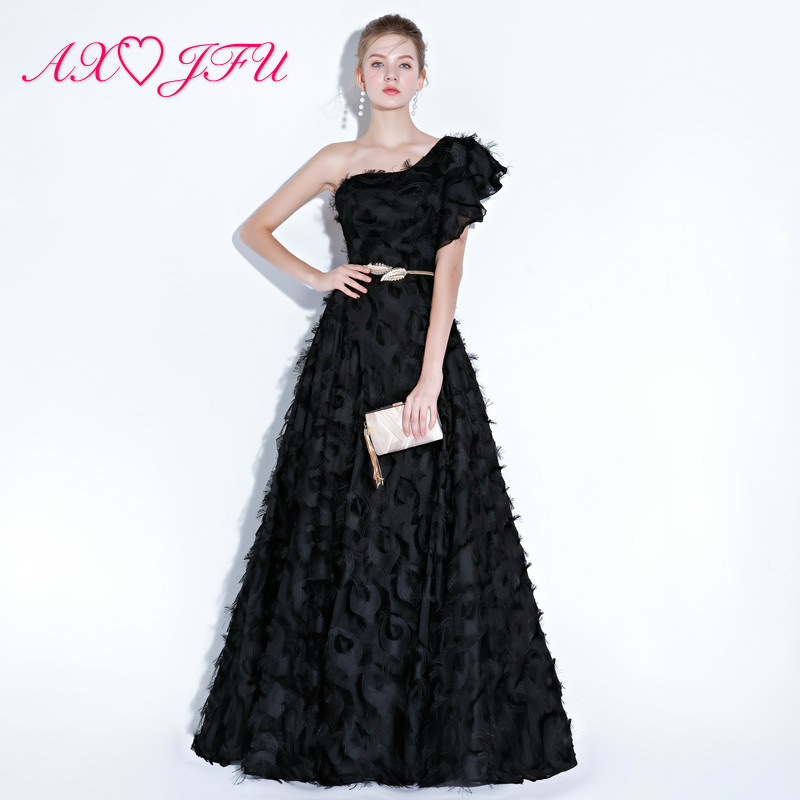 AXJFU Princess Black Feather Lace Evening Dress Luxury Leaf Sashes One Shoulder Red Feather Beach Illusion Evening Dress