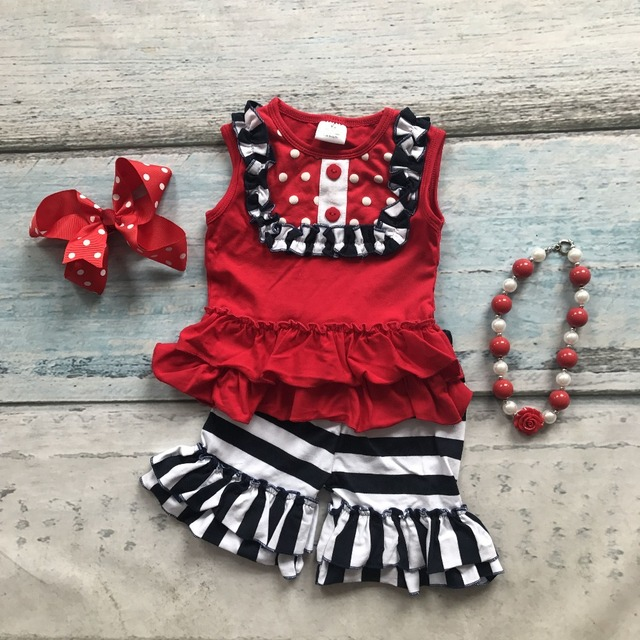 baby Girls Summer clothes baby girls boutique clothing stripe ruffle shorts children top bib sets matching accessories