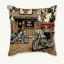 45×45 cm funda de almohada Vintage motocicleta cojín decorativo funda de almohada Retro sofá coche Lino algodón funda de cojín decoración del hogar