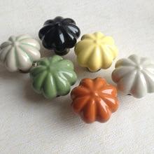 35mm Vintage Cupboard Handles Pumpkins Knobs Ceramic Door Drawer Cabinet Pull Handles Drawer Kitchen Cabinet Handles and Knobs