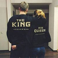 Women Men Hoodie Punk KING QUEEN Funny Hoodie Lovers T Shirt Couple Sweater Letter Printed Graphic