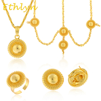 Habesha Jewelry Sets 24k Yellow Gold Plated Four Pcs Hair Chain Earrings Ring Pendant Chain Eritrean