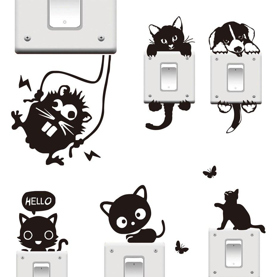 DCTOP 20 видов стилей смешные милые кошки собаки черный переключатель наклейки DIY мультфильм животных стены наклейки украшения дома Спальня ук...