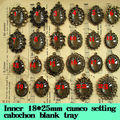 50pcs Wholesale Antique Bronze Zinc Alloy  inner 18*25mm Cameo Embedding Cabochons Tray Pendant blank for Necklace Jewelry