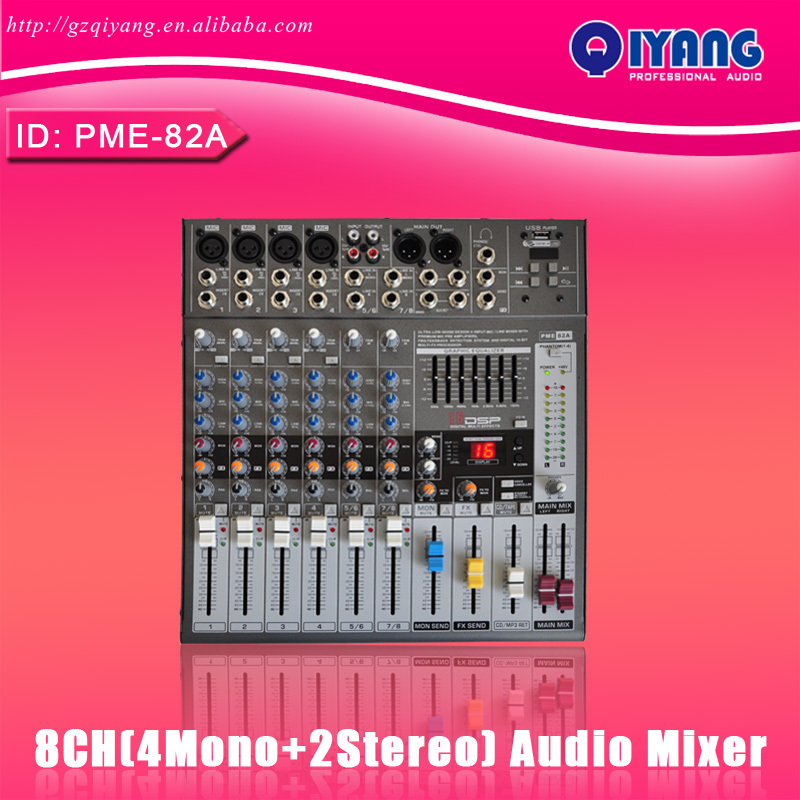 PME82A 4 Mono + 2 stereo 8 channels 16 DSP good quality USB professional audio dj amplifier mixer