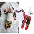 Lovely baby girls Clothing set de 3 unidades de las muchachas tops + pants + sombreros de Moda infantil ropa de bebé Nuevos 2017 Resorte del bebé trajes