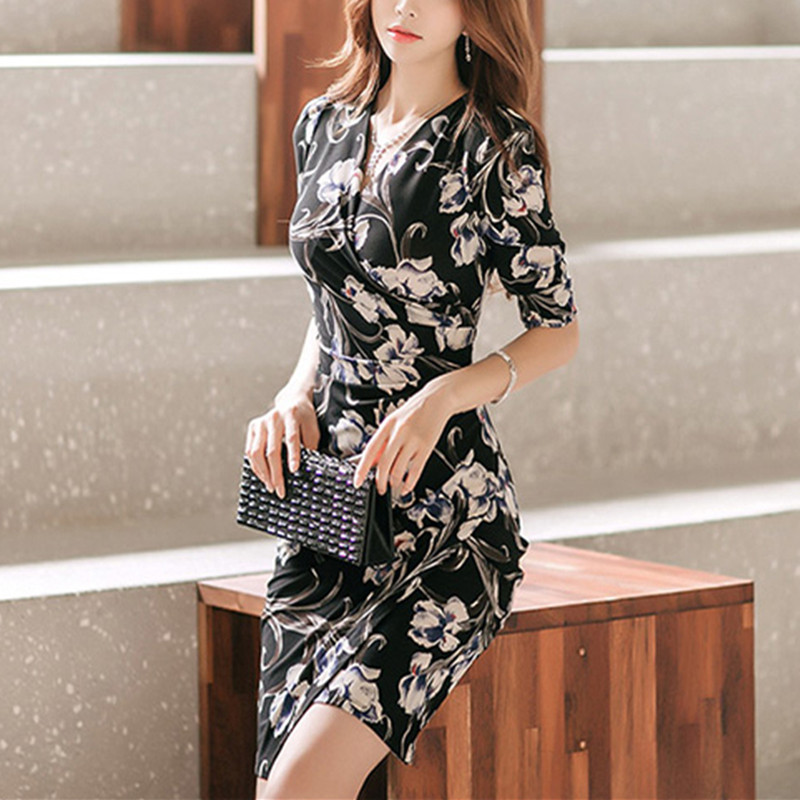 Vestidos 2018 Summer Dress Women Vintage Floral Print V-neck Short Sleeve Prom Office Lady Slim Party Dresses Formal