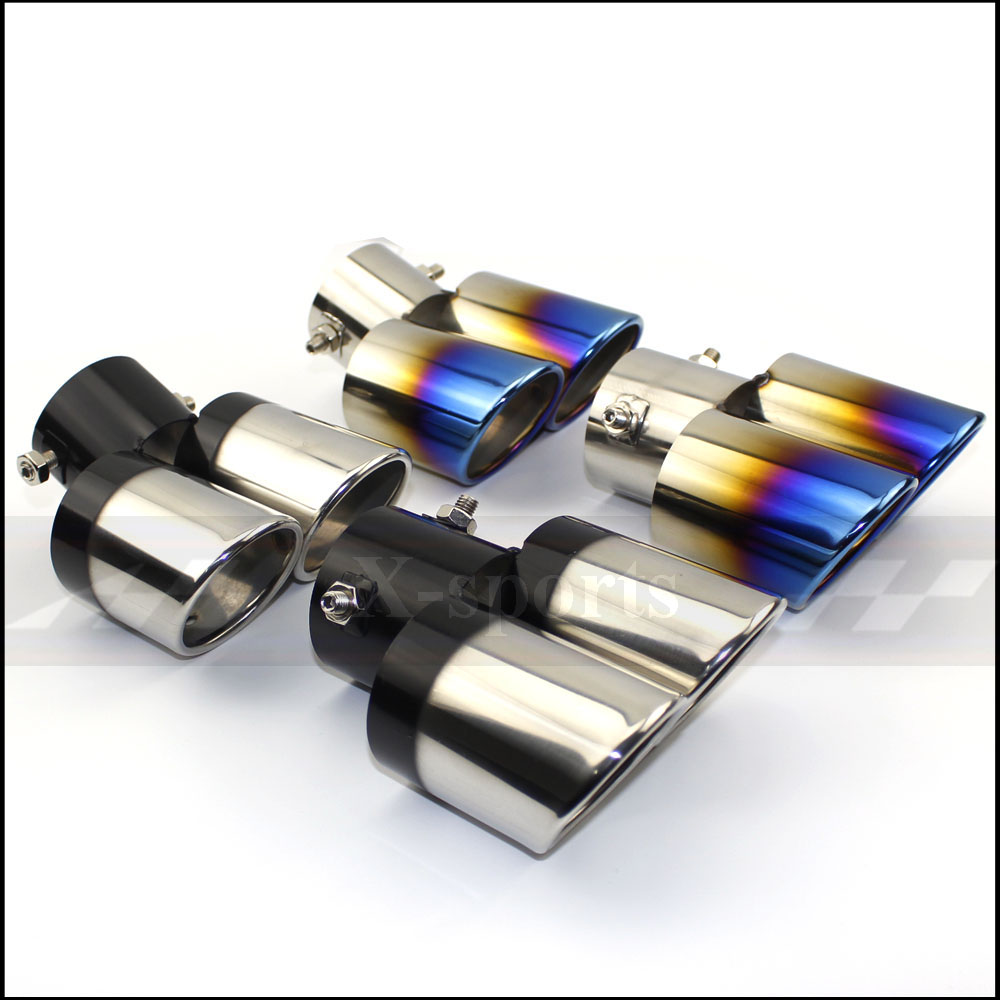 排気管マフラーテールパイプ出口ノズルエンドユニバーサルステンレス鋼円形斜め端 1 変化 ID60MM 倍増