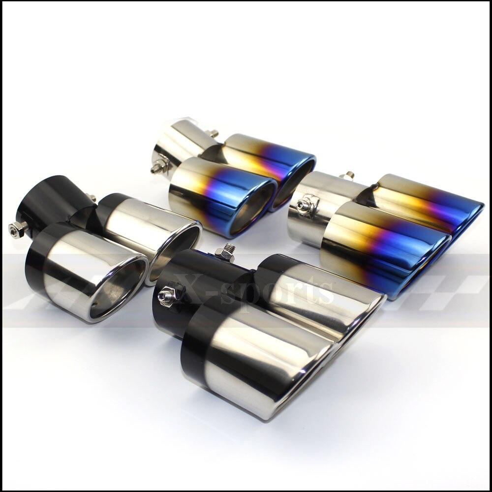 Egzoz borusu susturucu egzoz borusu çıkış memesi son evrensel paslanmaz çelik dairesel eğik uç bir değişiklik iki çift ID60MM