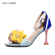 2018 summer New Elegant flower women sandals high heels sandals open toe summer Ankle Strap shoes woman ladies shoes Thin Heels new stylish women sandals 2017 open toe thin heels sandals high quality multicolors shoes woman plus us size 4 15