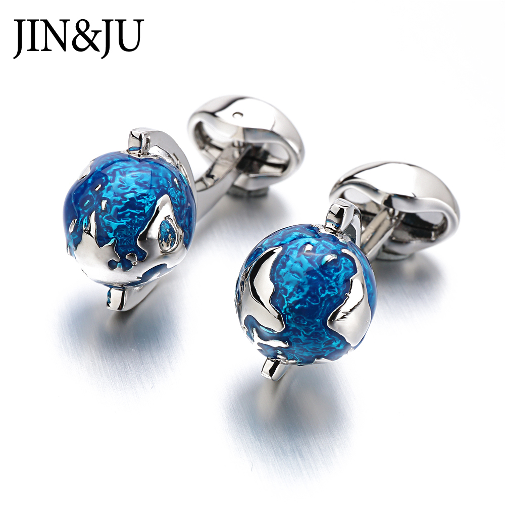 JIN&JU Fashion Globe Earth Cufflinks Blue Rotatable Globe Planet Earth World Map Christmas Gift For Men Cuff Links Gemelos
