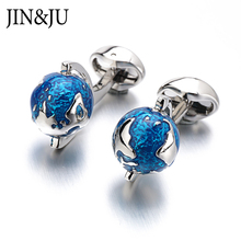 Fashion Globe Earth Cufflinks Blue Rotatable Planet World Map Cuff Links Christmas Gift For Men Cufflink emelos
