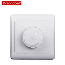 Hot Sale 86 PC Material Fan Switch Speed Controller Luxury Wall Switch Panel white Champagne Gold 86*86mm 10A 220v(China)