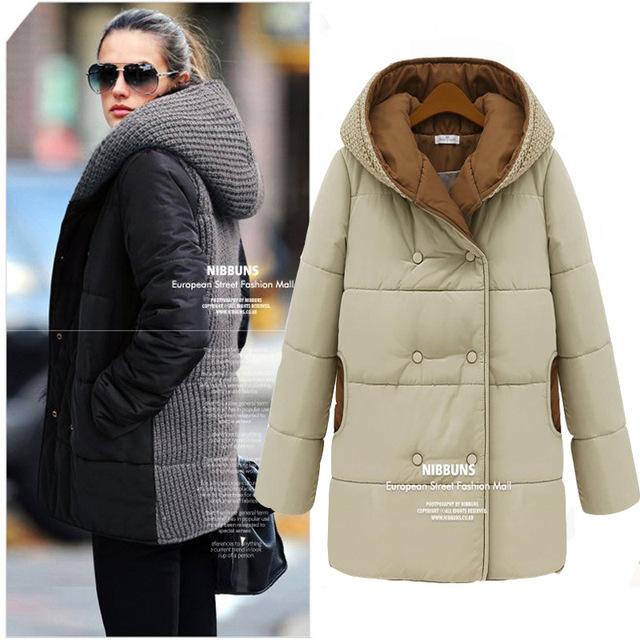 Jaqueta de inverno de algodão longa com capuz, mulheres coreano tricô de lã costura tamanho grande 4XL Slim - acolchoado Parkas mulheres casaco
