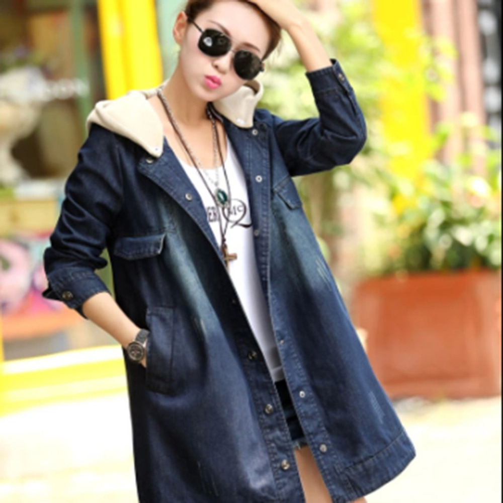 2020 New Female Cowboy Coat Dark Blue Loose Hooded Long Sleeve Cotton Coat Plus Velvet Thick Denim Jacket Winterjas Mujer