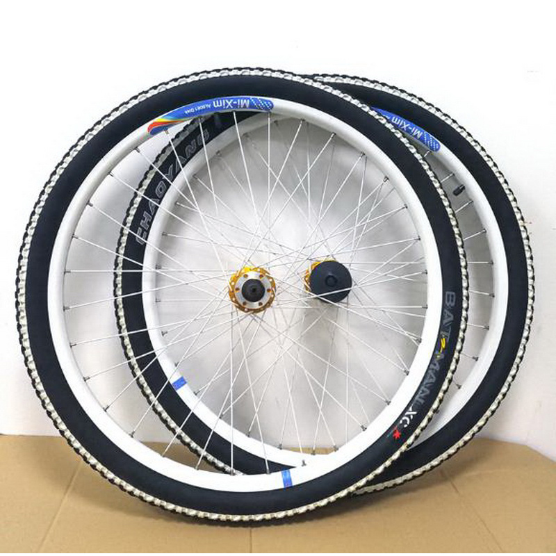230915/Bicycle mountain bike 26 - inch wheel set with a large inner tube fetal tire wheel rim/Double thick aluminum alloy rims kenda road bicycle bike tire inner tube 26 x 1 9 2 125 with a v valve american valve
