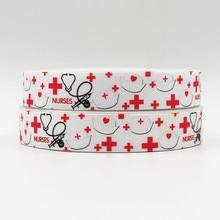 wm 10 yards lot 7/8inch 22mm 151228027 Nurses Day printed grosgrain ribbon