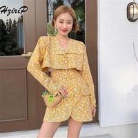 HziriP 2018 New Women Two Piece Set Female Autumn Floral Print Shirts Top + Mini Skirt Suits Ladies Long Sleeve Outfit Femme