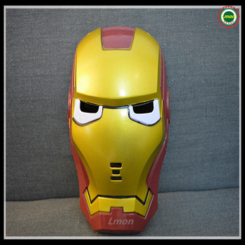 Hot selling Free Shipping Halloween Party Cosplay Avenger Union Iron Man helmet wearable face mask with glowing eyes LED Light