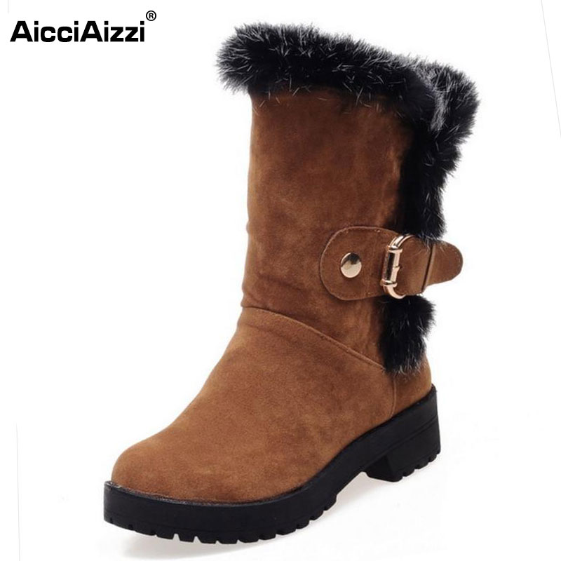 AicciAizzi Size 34-43 Women High Heel Boots Thick Fur Half Short Boots For Cold Winter Shoes Warm Snow Botas For Women Footwears