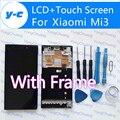 Alta calidad + pantalla táctil con el marco para xiaomi mi3 pantalla lcd de cristal digitalizador reemplazo para xiaomi mi3 teléfono móvil
