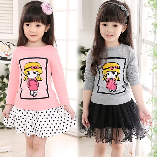 2016 Primavera marca bebés camiseta de Algodón de La Manera 3D Bordado ropa de los niños del Chándal de dibujos animados camisetas niños tops