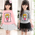 2016 Spring brand baby girls sweatshirt Cotton Fashion 3D Embroidery children clothing cartoon Tracksuit t shirts kids tops
