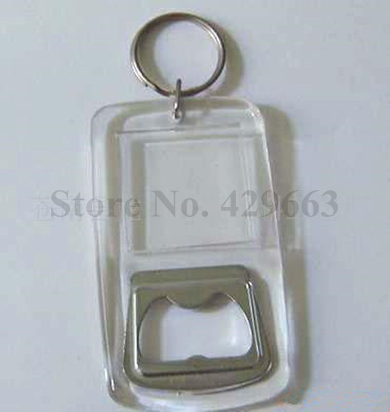 free shipping 1 piece clear keychain beer plastic metal promotion bottle opener can insert. Black Bedroom Furniture Sets. Home Design Ideas