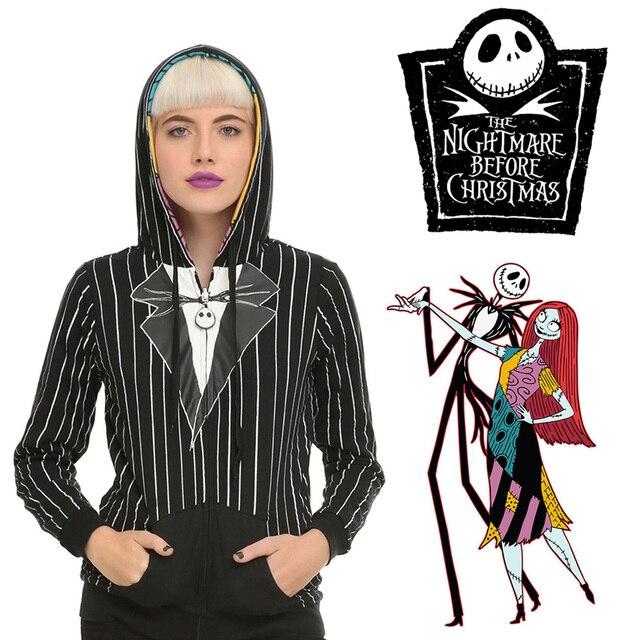 Jack Skellington Costume Nightmare Before Christmas Sweatshirt Jack and Sally Cosplay Reversible Hoodies Halloween Fancy Coat