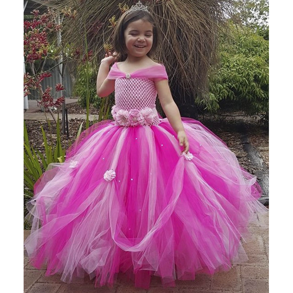 Beautiful Hot Pink Princess Rhinestone Gown Tutu Dress Flower Girl Fluffy Maxi Wedding Party Tulle Tutu Dresses For Birthday childrens wedding gown blue purple hot pink red summer toddler party wedding birthday princess dress girl kids dresses