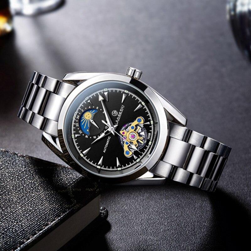 Laogeshi marque de luxe Tourbillon étanche montres hommes automatique mécanique montre petit 24 heures affichage Moonphase Relojes
