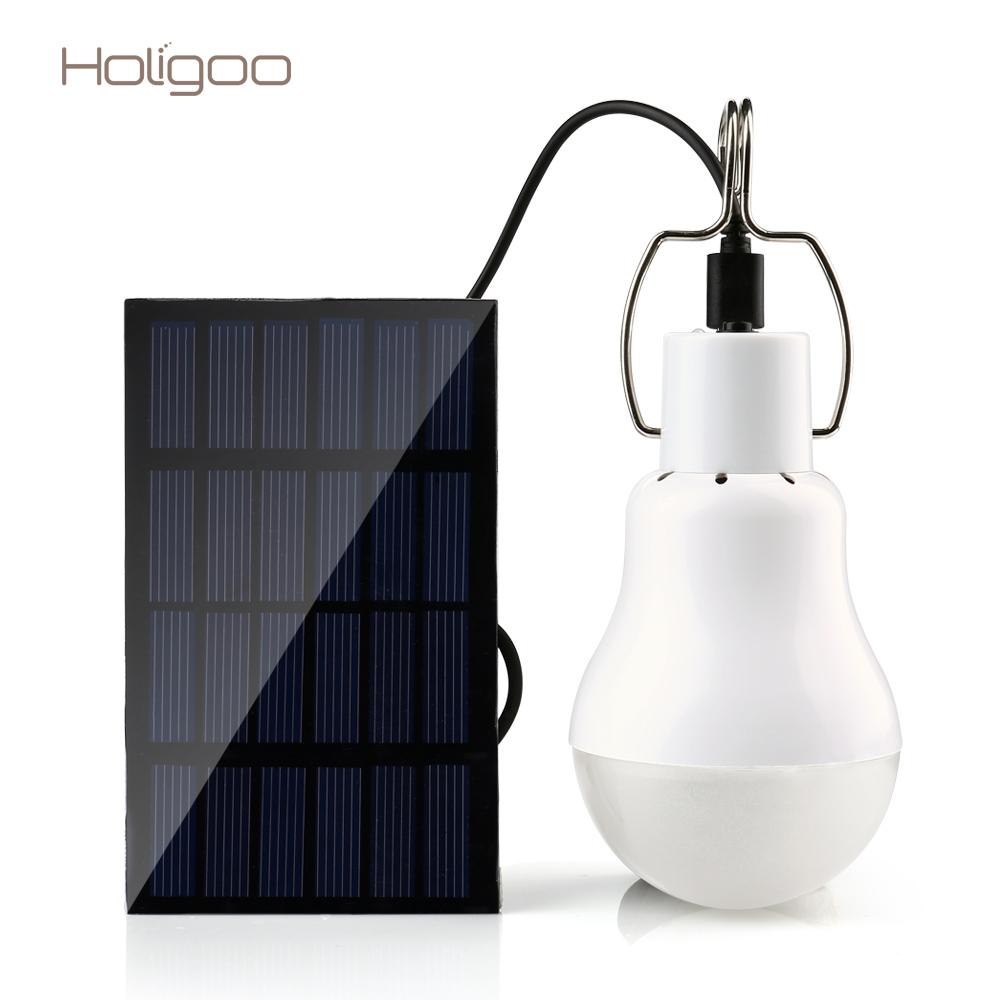 Holigoo Solar Light 15W 130LM Solar Lamp Portable Bulb Light Solar Energy Lamp Led Lighting Solar Panel Camp Tent Fishing Light high power 12v led bulb smd 5730 portable led lamp outdoor camp tent night fishing hanging light lamparas 3w 5w 7w 9w 12w