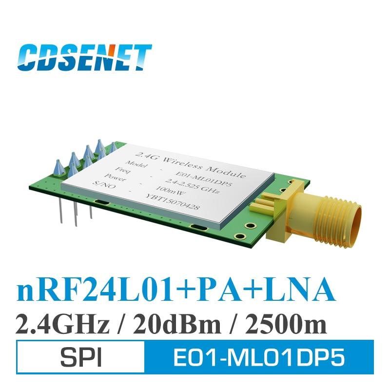 imágenes para 2 PC/Lot E01-ML01DP5 LNA PA nRF24L01 2.4 GHz de Largo Alcance Inalámbrico RF Transmisor Original CDSENET 20dBm 2.5 km Módulo SPI antenas