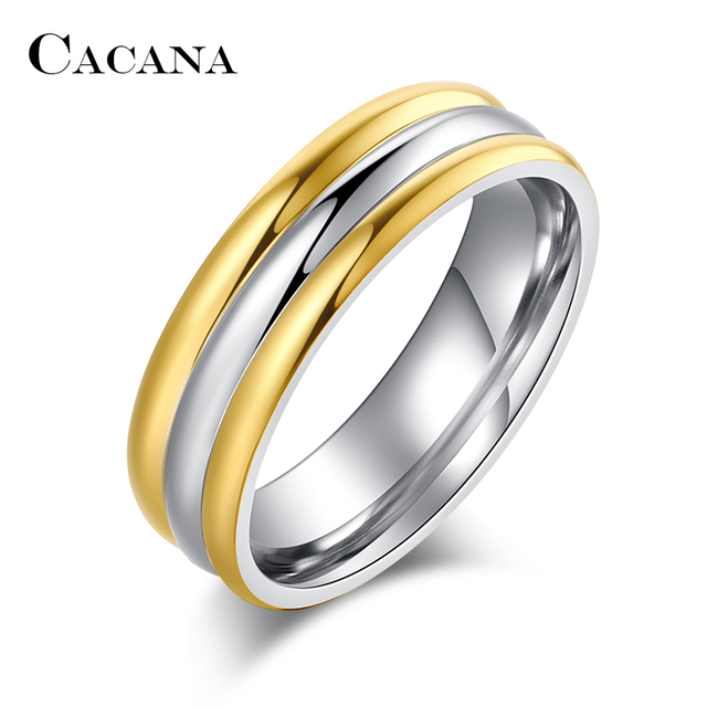 CACANA Titanium Stainless Steel Rings For Women Two Types Choosing Wedding Ring