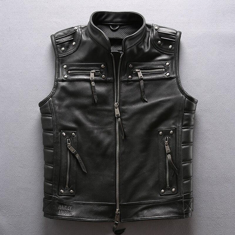 Harley угол 2018 новый для мужчин мотоцикл кожаная куртка панк Байкер толстые теплые Rider жилет M-XXXL